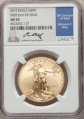 Modern Bullion Coins, 2017 $50 Gold Eagle First Day of Issue, Moy Signature, MS70 NGC. NGC Census: (0). PCGS Population: (173). MS70....