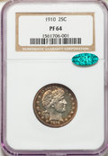 Proof Barber Quarters, 1910 25C PR64 NGC. CAC. NGC Census: (48/85). PCGS Population: (56/60). PR64. Mintage 551.. From The William Rehwald...