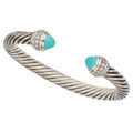 Estate Jewelry:Bracelets, Diamond, Turquoise, Sterling Silver Bracelet, David Yurman. ...
