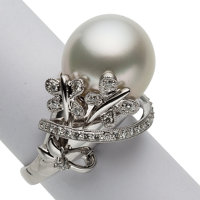 South Sea Cultured Pearl, Diamond, White Gold Ring