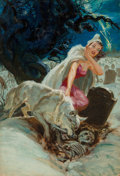 Mainstream Illustration, Norman Saunders (American, 1907-1989). The White Wolf, Famous Mantastic Mysteries magazine cover, August 1952. Oil on bo...