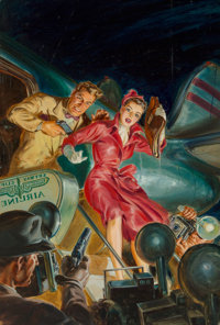Norman Saunders (American, 1907-1989) Dead Air, Dime Detective Magazine cover, June 1951 Oil on boar