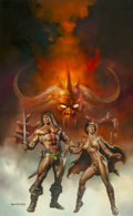Mainstream Illustration, Boris Vallejo (American, b. 1941). Conan The Fearless paperbackcover, 1986. Acrylic on board. 29.5 x 20 in.. Signed low...