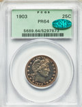 Proof Barber Quarters, 1903 25C PR64 PCGS. PCGS Population: (63/92). NGC Census: (49/127). PR64. Mintage 755. . From The William Rehwald P...