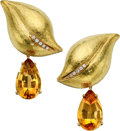 Estate Jewelry:Earrings, Citrine, Diamond, Gold Earrings, Paloma Picasso for Tiffany & Co.. ...