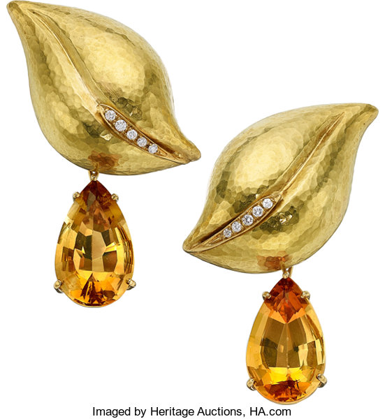 46dc3fd01d4eb Citrine, Diamond, Gold Earrings, Paloma Picasso for Tiffany | Lot ...