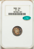 Proof Seated Dimes, 1880 10C PR64 NGC. CAC. NGC Census: (68/98). PCGS Population: (96/96). PR64. Mintage 1,355.. From The William Rehwa...