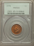 Proof Indian Cents, 1878 1C PR65 Red PCGS. PCGS Population: (35/10). NGC Census: (18/5). PR65. Mintage 2,350. . From The William Rehwal...