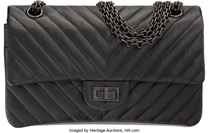 0f3095618a8e ... Luxury Accessories:Bags, Chanel So Black Aged Chevron Quilted Lambskin  Leather 2.55 Reissue225 Double ...