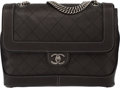 """Luxury Accessories:Bags, Chanel Black Perforated Quilted Caviar Leather Shoulder Bag with Ruthenium Hardware. Condition: 1. 13"""" Width x 10"""" Hei..."""