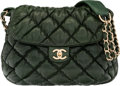 """Luxury Accessories:Bags, Chanel Dark Green Bubble Quilted Lambskin Leather Shoulder Bag. Condition: 1. 12"""" Width x 9"""" Height x 3"""" Depth. ..."""