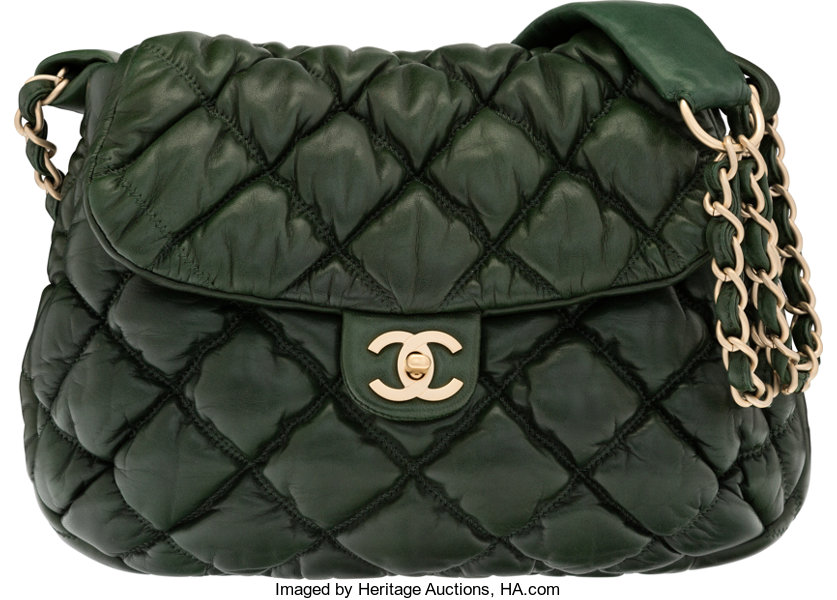 d772b10c2a1c Condition; Luxury Accessories:Bags, Chanel Dark Green Bubble Quilted  Lambskin Leather Shoulder Bag.