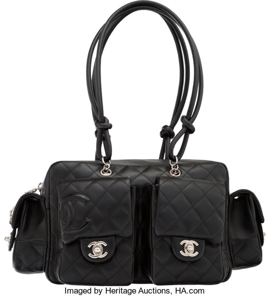 f8f7e1bf6275f2 Luxury Accessories:Bags, Chanel Black Quilted Lambskin Leather Cambon  Multi-Pocket ReporterBag.