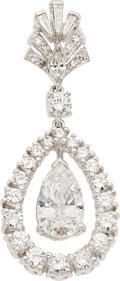 Estate Jewelry:Pendants and Lockets, Diamond, Platinum Pendant-Brooch. ...