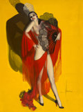 Mainstream Illustration, Rolf Armstrong (American, 1889-1960). Carmen, Brown & Bigelow calendar illustration, 1929. Oil on canvas. 60 x 80 in.. S...