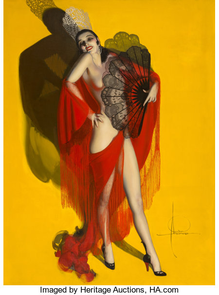 Rolf Armstrong (American, 1889-1960)Carmen, Brown & Bigelow calendar illustration, 1929Oil on canvas60 x 80 in.S...