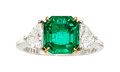 Estate Jewelry:Rings, Colombian Emerald, Diamond, Platinum, Gold Ring . ...