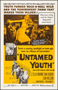 "Movie Posters:Exploitation, Untamed Youth (Warner Brothers, 1957). Very Fine on Linen. One Sheet (27"" X 41""). Exploitation.. ..."