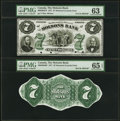 Canadian Currency, Montreal, CE- Molsons Bank $7 1.11.1871 Ch.# 490-20-04P Face andBack Proofs PMG Graded Choice Uncirculated 63; Gem Uncirc...(Total: 2 notes)
