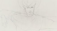 Patrick Nagel (American, 1945-1984) Untitled (Woman in Sweater and Earrings) Pencil on paper 17 x