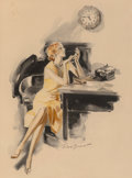 Mainstream Illustration, Frederick Sands Brunner (American, 1886-1954). Almost QuittingTime. Watercolor on board. 13.5 x 10 in.. Signed lower ce...