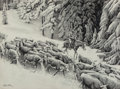 Mainstream Illustration, Morton Künstler (American, b. 1931). Early Snow, 1977. Pencil on paper. 19 x 25.75 in. (sight). Signed and dated lower l...