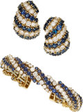 Estate Jewelry:Suites, Diamond, Sapphire, Gold Jewelry Suite. ... (Total: 2 Items)