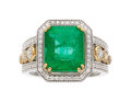 Estate Jewelry:Rings, Emerald, Diamond, Gold Ring, Effy . ...