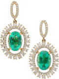 Estate Jewelry:Earrings, Emerald, Diamond, Gold Earrings, Effy. ...