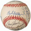 Autographs:Baseballs, Hall of Fame Legends Multi-Signed Baseball (19 Signatures) from theEnos Slaughter Collection....