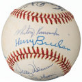 Autographs:Baseballs, 1976 St. Louis Cardinals Old Timers Game Signed Baseball from The Enos Slaughter Collection....