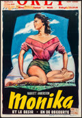 "Movie Posters:Foreign, Summer with Monika (ABC, 1953). Folded, Fine+. Trimmed Belgian (13.75"" X 20"") Wik Artwork. Foreign.. ..."