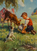 Mainstream Illustration, Hy (Henry) Hintermeister (American, 1897-1972). FeedingTime. Oil on canvas. 28 x 21 in.. Signed lower right. TheIR...