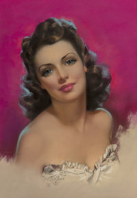 Zoe Mozert (American, 1904-1993) Brunette in White Dress Pastel on paper 20.75 x 14.25 in. (sight