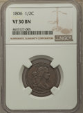 Half Cents: , 1806 1/2 C Small 6, No Stems VF30 NGC. PCGS Population: (89/611). VF30. Mintage 356,000. ...