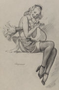 Mainstream Illustration, Gil Elvgren (American, 1914-1980). I Gave Him the Brush-Offpreliminary, circa 1946. Charcoal on tracing paper. 24 x 17....