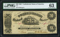 Confederate Notes:1861 Issues, T9 $20 1861 PF-13 Cr. 32 PMG Choice Uncirculated 63.. ...