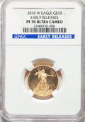 Modern Bullion Coins, 2010-W $10 Quarter-Ounce Gold Eagle, Early Releases, PR70 Ultra Cameo NGC. NGC Census: (1397). PCGS Population: (379). PR70...
