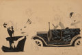 Mainstream Illustration, John Held Jr. (American, 1889-1958). Thanks For the Buggy Ride!. Ink on board. 9.75 x 14 in. (sight). Signed lower right...