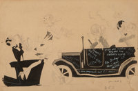 John Held Jr. (American, 1889-1958) Thanks For the Buggy Ride! Ink on board 9.75 x 14 in. (sight)