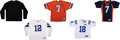Football Collectibles:Uniforms, 2000 Football Greats Signed Jerseys Lot of 5....
