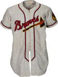 Baseball Collectibles:Uniforms, 1950 Warren Spahn Game Worn Boston Braves Complete Uniform (JerseyPants, Stirrups), MEARS A8....