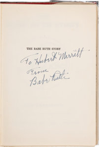 """1948 Babe Ruth Signed """"The Babe Ruth Story"""" Book"""