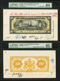 Canadian Currency, Montreal, PQ- Royal Bank of Canada $10 1913 Ch.# 630-12-06fp; bp Face and Back Proofs PMG Choice Uncirculated 64; Gem Unci... (Total: 2 notes)