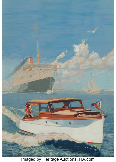 Walter Martin (American, 20th Century) At Sea Gouache on board 17.5 x 12.5 in. (sight) Signed lower right The I...