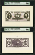 Canadian Currency, Toronto, ON- Dominion Bank $20 1931 Ch.# 220-24-10fp; bp Face and Back Proofs PMG Gem Uncirculated 66 EPQ (2).. ... (Total: 2 notes)