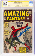 """Silver Age (1956-1969):Superhero, Amazing Fantasy #15 Signature Series With """"Stanley M. Lieber"""" Signature (Marvel, 1962) CGC GD 2.0 Cream to off-white pages...."""