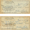 Autographs:Checks, 1967 Bruce Lee & Linda Lee Signed Checks, PSA/DNA NM-MT 8....
