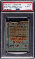 """Football Collectibles:Tickets, 1928 Army vs. Notre Dame Football Ticket Stub, The """"Gipper Game, PSA Authentic. ..."""