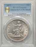 Trade Dollars, 1877 T$1 -- Altered Surfaces -- PCGS Genuine Gold Shield. Unc Details. Mintage 3,039,710....